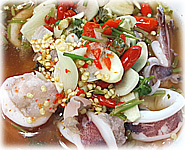 Thai Recipes : Steamed Squid with Lime Garlic and Chili Sauce